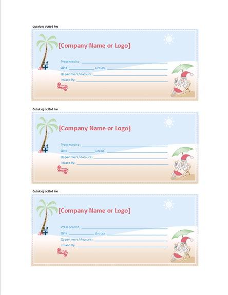 Gift Certificate summer Santa Design Free Certificate – Santa Gift Certificate Template