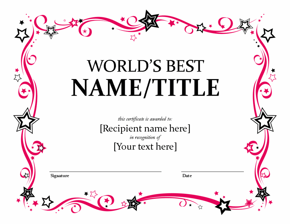 Free Award Templates Printable Super Star Award Certificates – Award Templates for Word