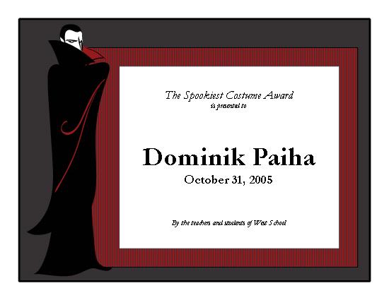 Halloween Costume Prize Categories - Meningrey