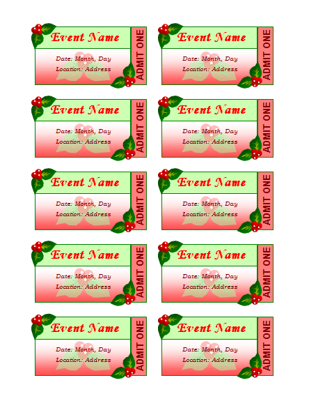 Templates certificates holiday event tickets 10 per sheet for Avery event ticket template