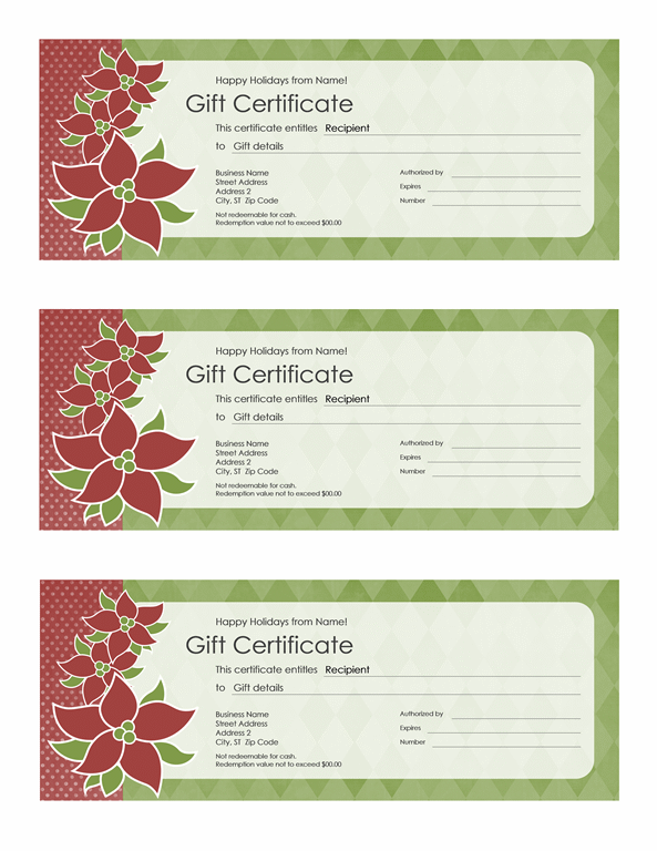 Holiday Gift Certificate poinsettia Design Free Certificate – Free Christmas Gift Certificate Templates