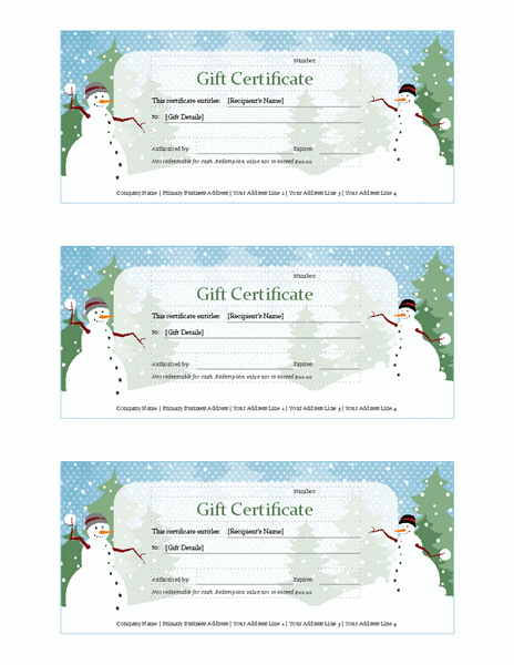 Holiday Gift Certificate (snowman Design)  Free Holiday Gift Certificate Templates