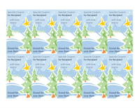 Holiday Gift Coupons In Snow Design With 10 Cards Per Page