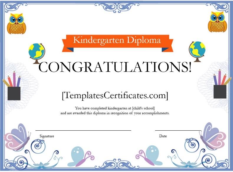 kindergarten diploma certificate template free certificate