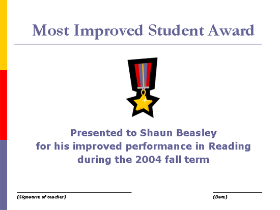 Most Improved Student Award - Free Certificate Templates In Academic ...