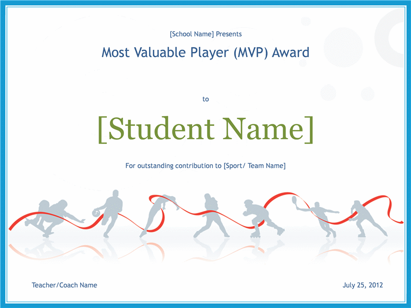 Download award free certificate templates for ms office most valuable player awarding certificate yadclub Choice Image
