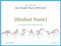 Most Valuable Player Awarding Certificate