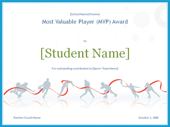 Sport Certificate Templates Mvp Award Certificate Free Certificate Templates In Sports Award Certificates Category