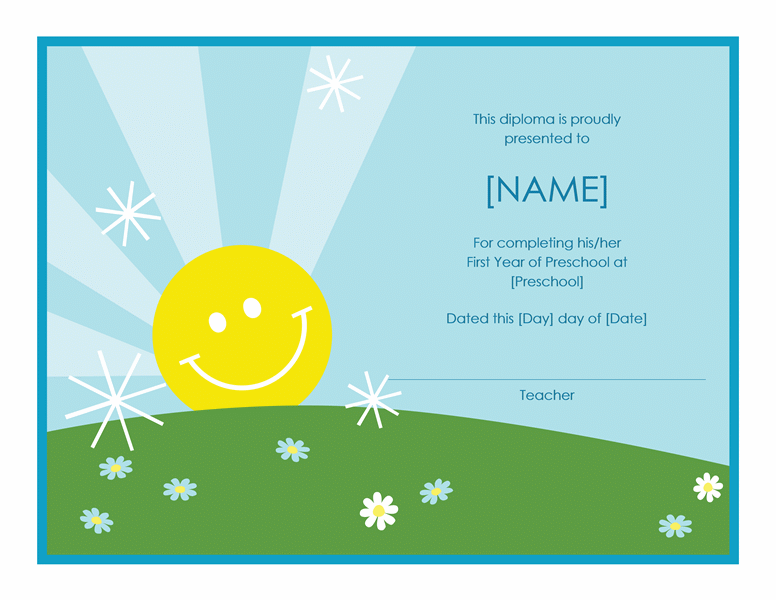 Preschool certificate of completion template free certificate preschool certificate of completion template yadclub Images