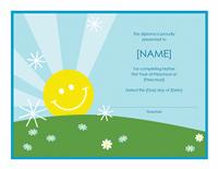 Preschool Certificate Of Completion Template