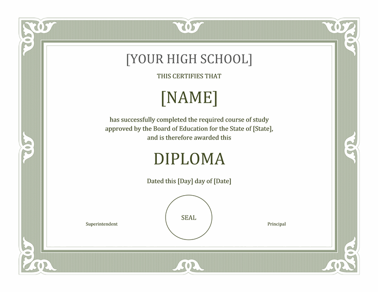 Download sheepskin free certificate templates for ms office for High school diploma certificate fancy design templates