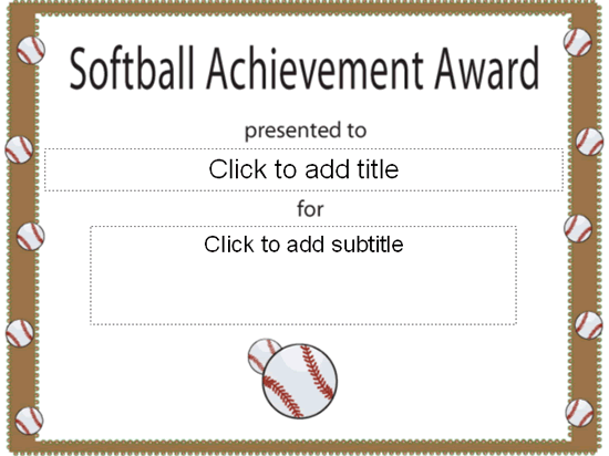 Softball achievement award certificate free certificate softball achievement award certificate pronofoot35fo Choice Image