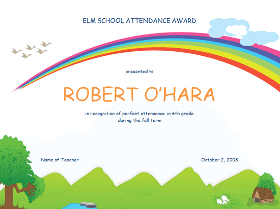 Student Attendance Award (Elementary) - Free Certificate Templates