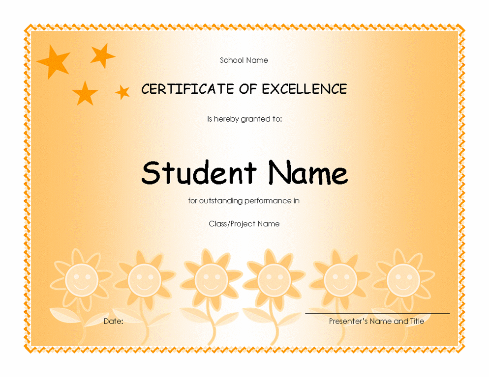 Student Excellence Award (elementary)  Ms Office Certificate Template
