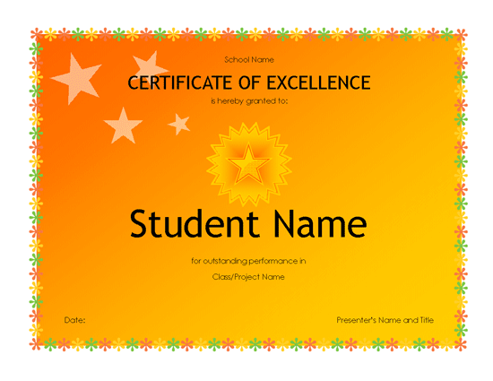 free award certificate templates for students - student excellence award high school free certificate