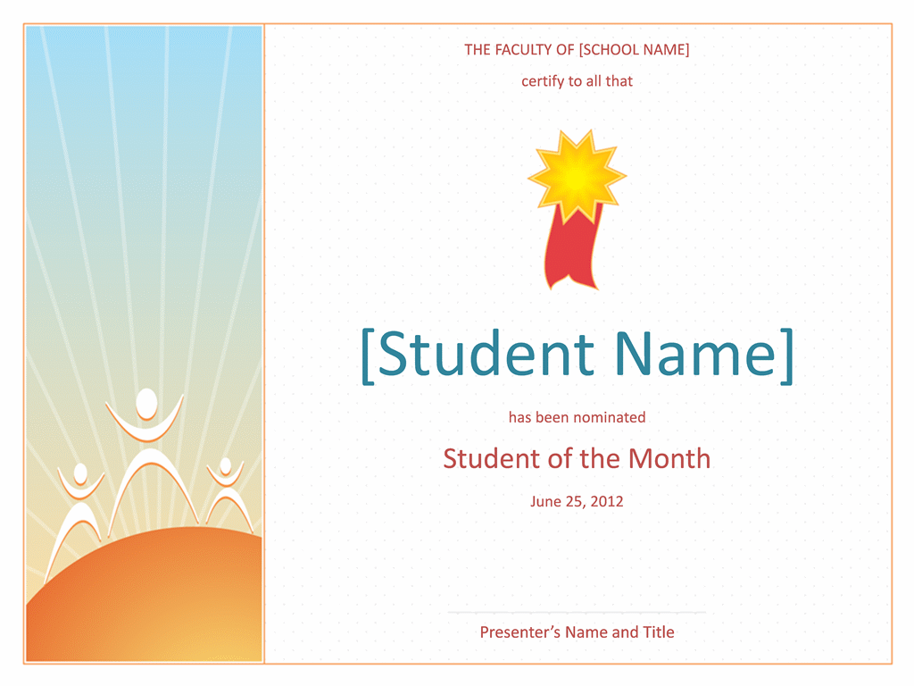 Student Of The Month Award (elementary)  Ms Office Certificate Template