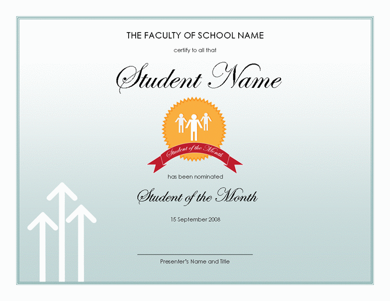 Student award templates new calendar template site for Student of the year award certificate templates