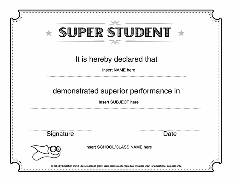 Super student certificate free certificate templates in academic super student certificate yelopaper Gallery