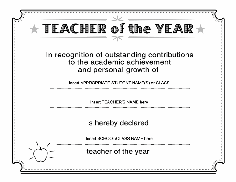 Teacher of the year certificate free certificate for Teacher certificate template