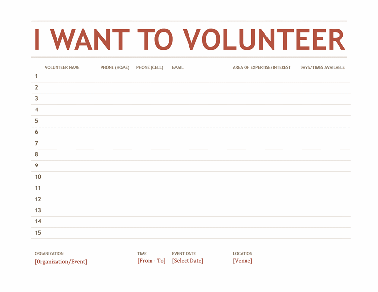 Volunteer Sign-up Sheet