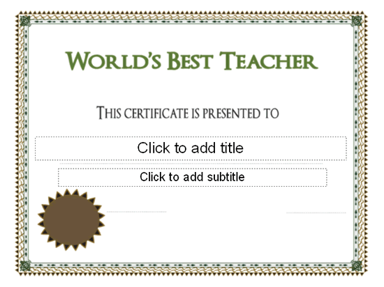 Worlds best teacher award certificate free certificate worlds best teacher award certificate yadclub Gallery
