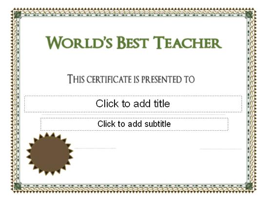 Worlds Best Teacher Award Certificate Free Certificate – Academic Certificate Templates Free