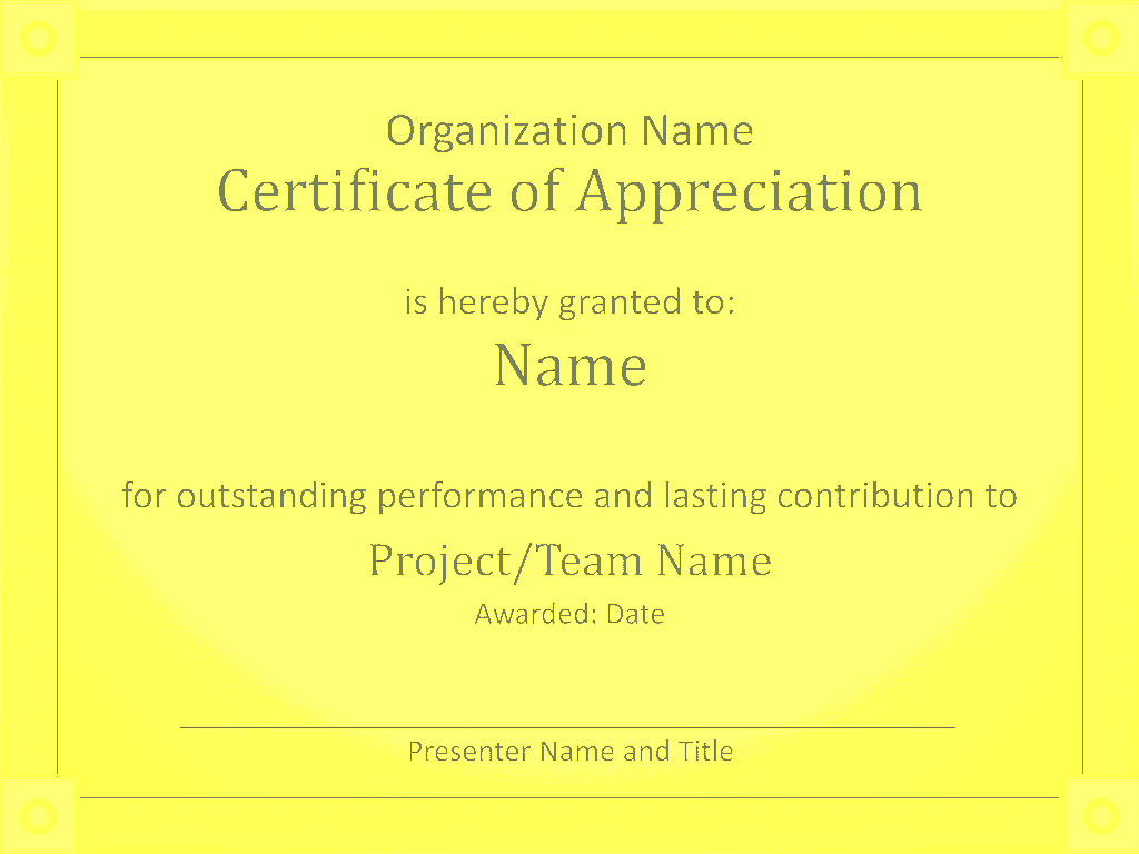 Acknowledge Prominent Public Presentation Certificate Of Grasp Yellow