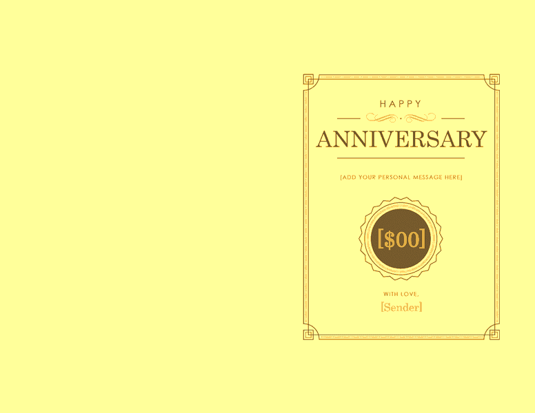 anniversary gift certificate template word 2003 free