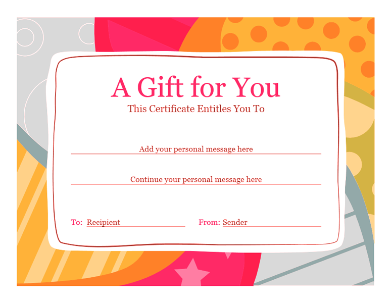 Birthday gift certificate template word 2010 free for Gift certificate template word