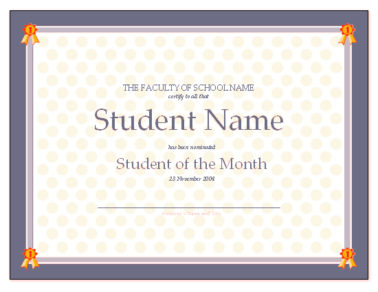 Free Student Of The Month Certificate Templates