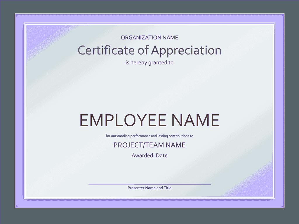 Certificate Of Appreciation Blue