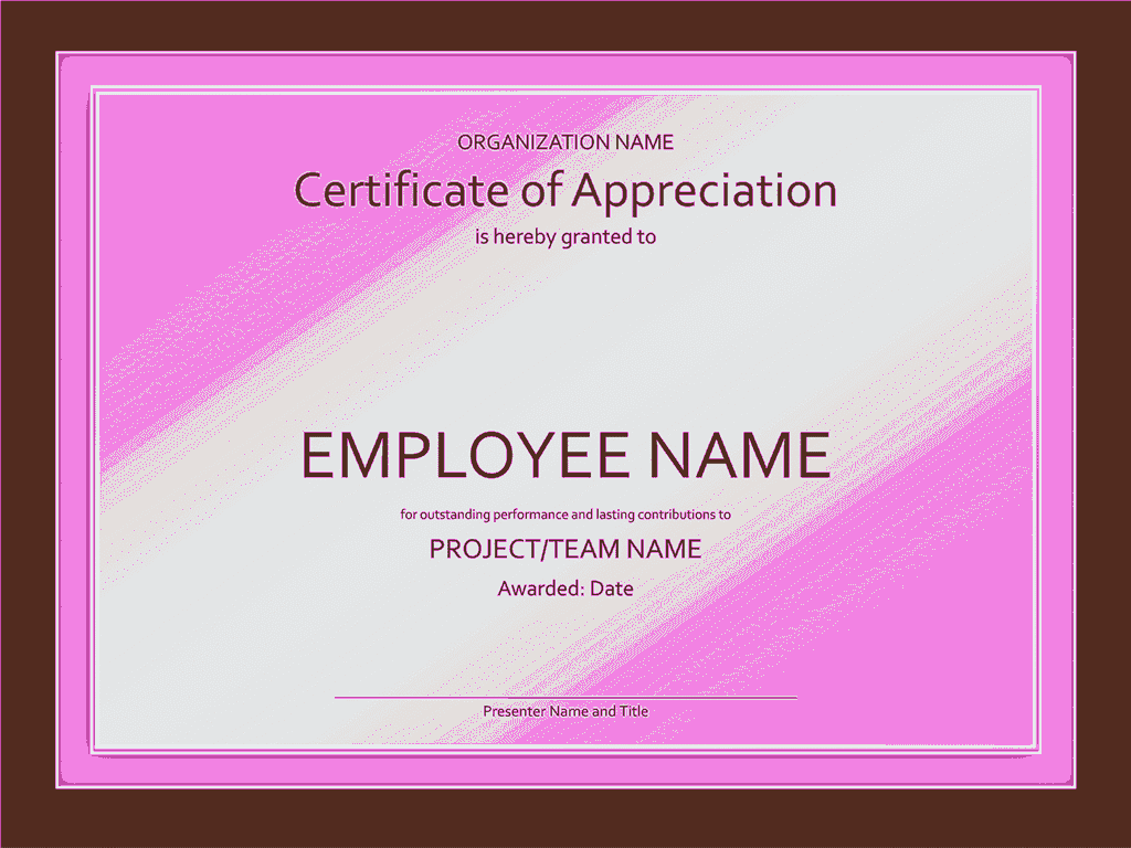 Certificate Of Appreciation Purple