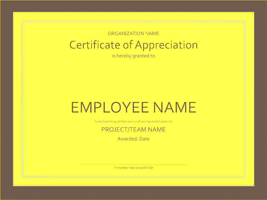 Certificate Of Appreciation Yellow