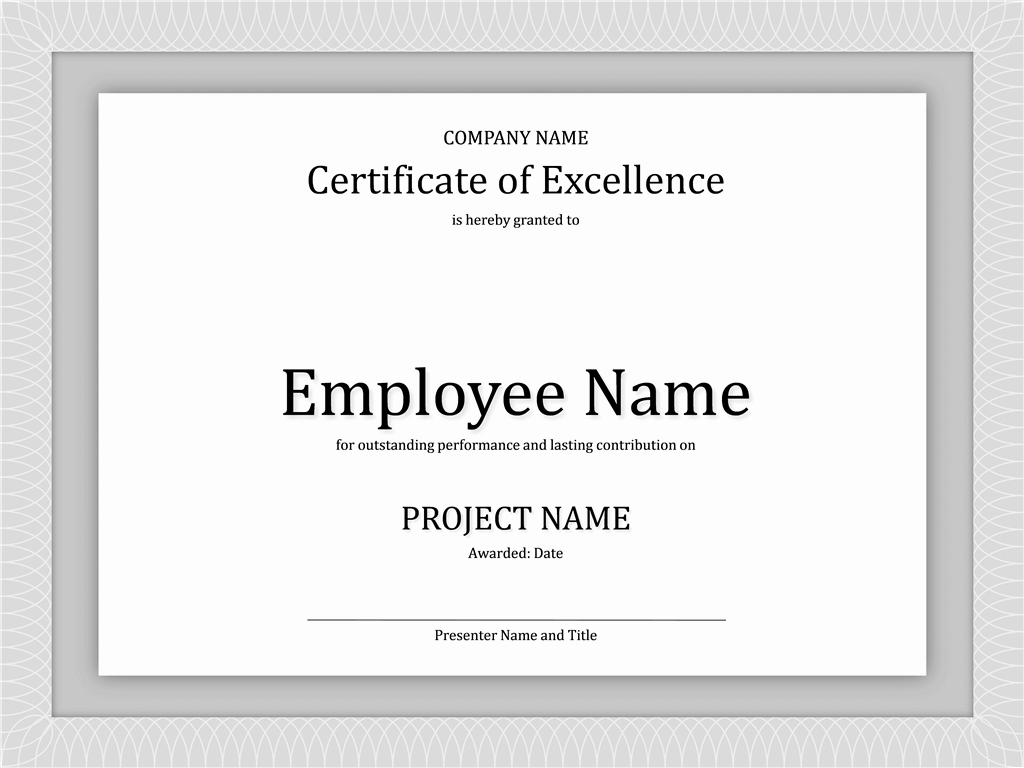 Doc1040729 Award of Excellence Certificate Template Formal – Award Templates Free Word