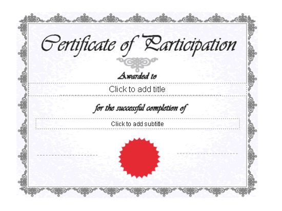 Certificate Of Participation Blue Theme  Participation Certificate Template