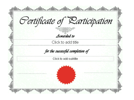 Certificate Of Participation Green-theme