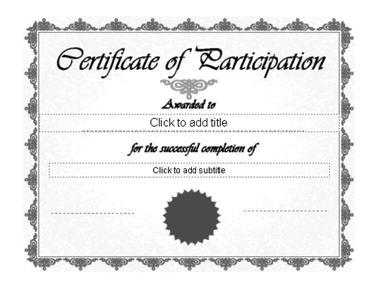Certificate Of Participation Grey-theme