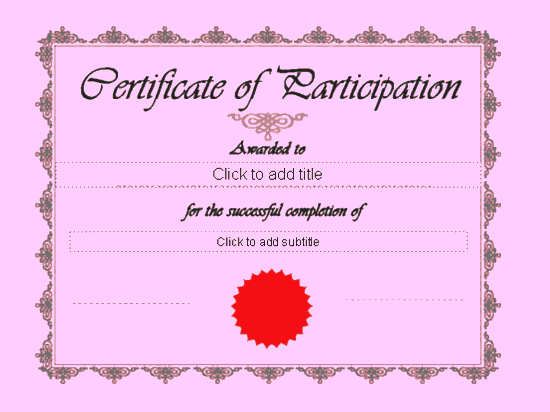 Certificate Of Participation Free Certificate Templates In – Certificate of Participation Free Template