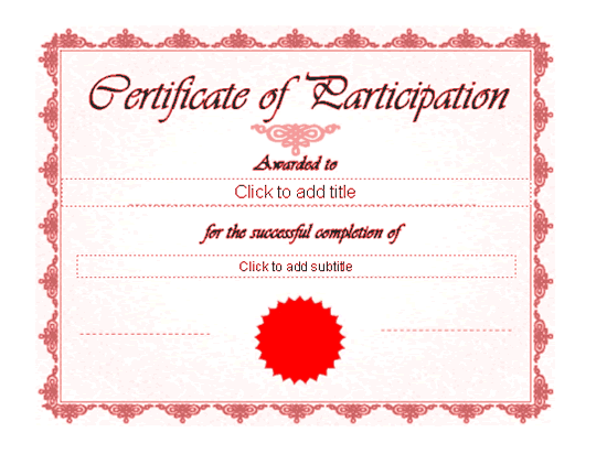 Certificate Of Participation Red-theme