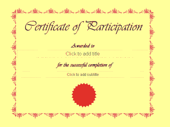 Certificate Of Participation Yellow-theme
