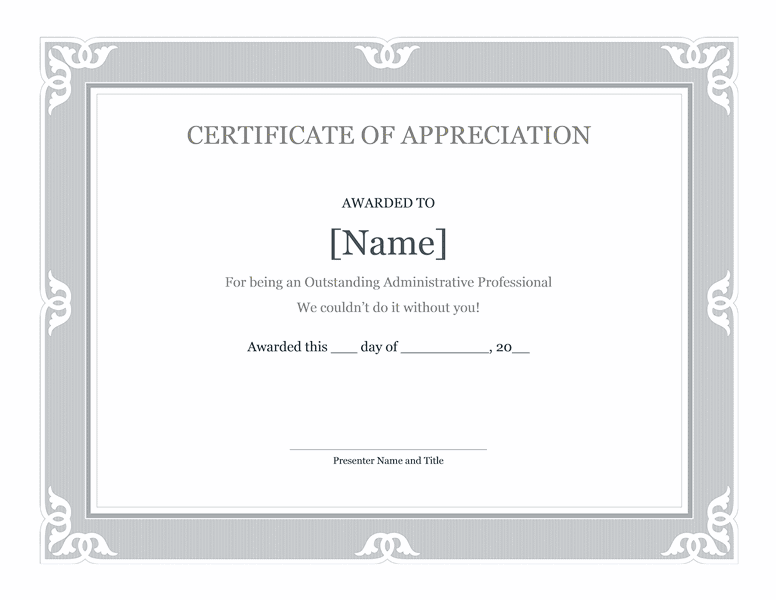 Certificate Of Recognition For Administrative Professional Blue