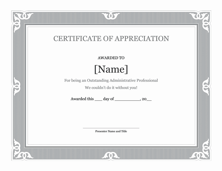 Certificate Of Recognition For Administrative Professional Grayscale