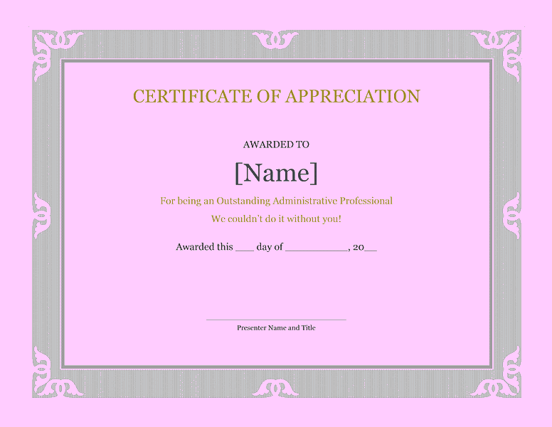 Certificate Of Recognition For Administrative Professional Purple