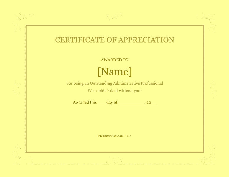 Certificate Of Recognition For Administrative Professional Yellow