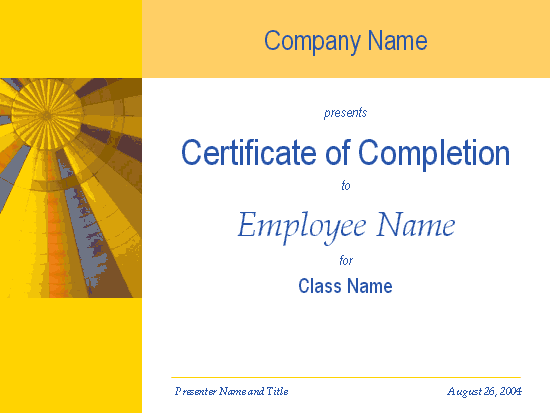 Office Certificate of Completion