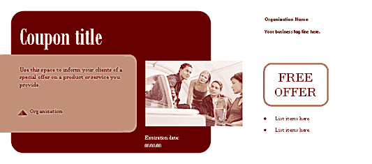 Coupon (herald Design, For Commercial Printing) Red