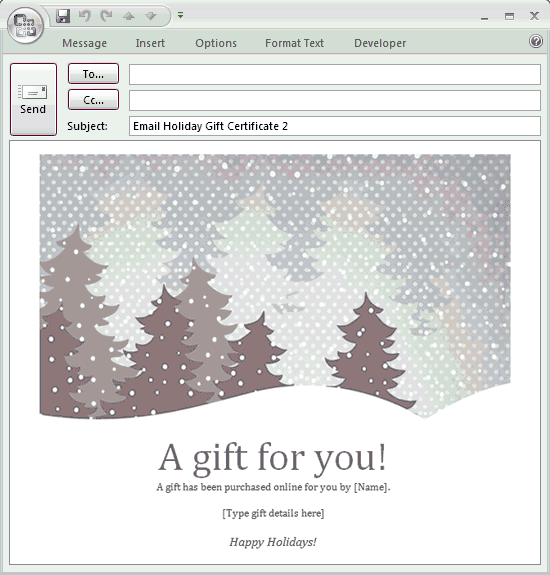 E mail message holiday gift certificate free certificate e mail message holiday gift certificate grayscale yelopaper Choice Image