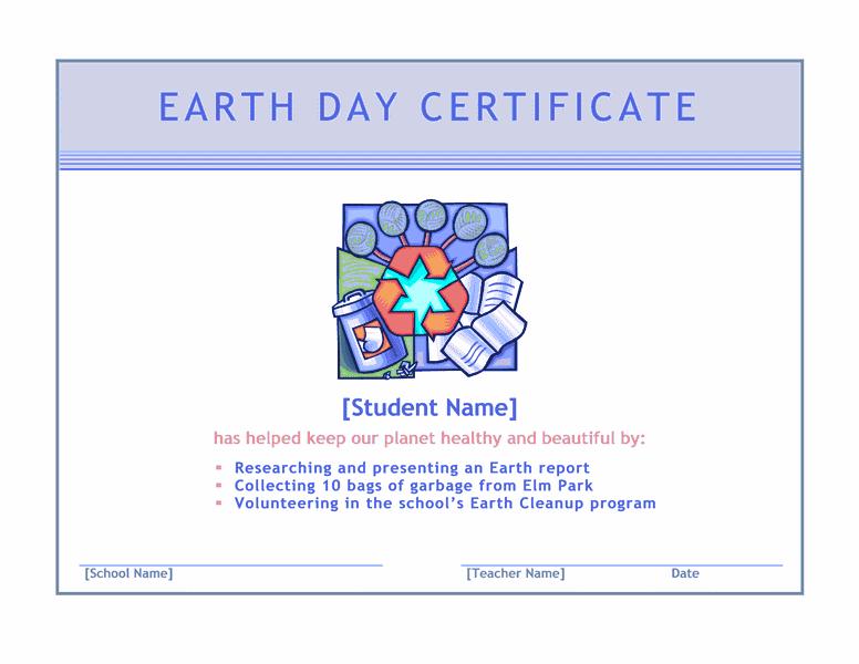 Earth Twenty-four Hours Certificate Blue