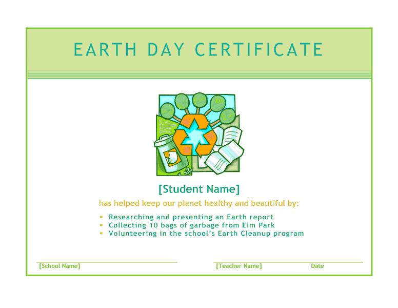 Earth Twenty-four Hours Certificate Green