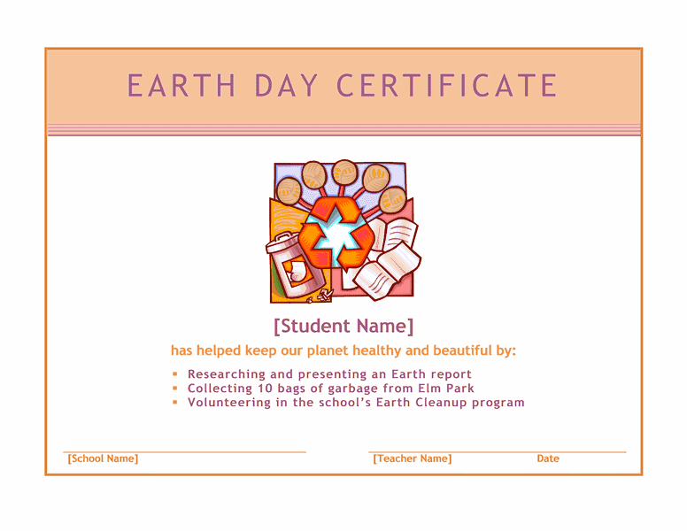 Earth day award certificate template download solar day free certificate templates for ms office yelopaper Image collections